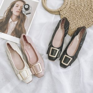 Women Leather Flats Lady Flat Heel Shoes Spring Summer Soft Sole Nice Quality Comfortable Solid Color Princess Pink Shoes 36-41