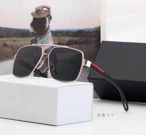 Prada P0805 New retângulo óculos de sol 0805 mulheres marca designer homens sunglasse alta qualidade UV proteção lente Retro Metal Frame moda óculos de sol