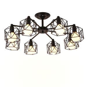 Lámparas de techo de la vendimia múltiple Varilla de hierro forjado de la lámpara E27 del bulbo de la sala Lamparas para el hogar Iluminación