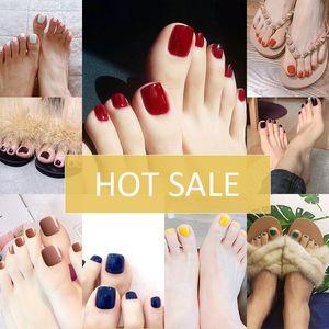 Klasik Fransız Kare Ayak parmakları Çiviler Nü Kırmızı / Mavi / Yeşil Sahte Ayak parmakları Çiviler Zarif Ayaklar İpuçları Sahte Ongles Pieds Yanlış Çiviler Toptan