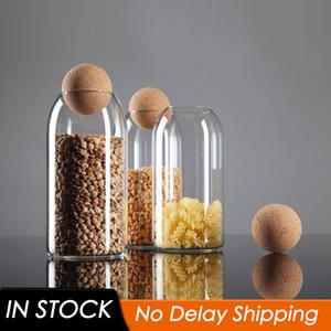 3 Tamanho Transparente Spice frasco de vidro selado garrafa de armazenamento com Rodada Cork Mason Jar Tea armazenamento de café cisterna alimentais Grains Container T200506