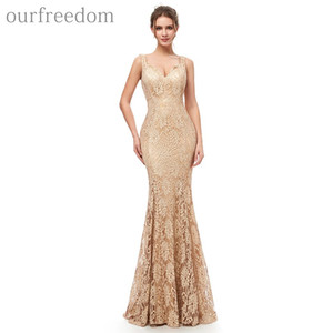 2019 di sera del merletto elegante pieno di champagne abiti con scollo a V pavimento della sirena Lunghezza occasione convenzionale Designer Occasion Dresses Hot Sale Disponibile