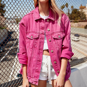 Petit ami Veste en denim Automne Femmes Manteaux Rose Noir Lapel Rose Kurtka simple boutonnage Jean Jakect Streetwear Jaqueta Jeans Rosa