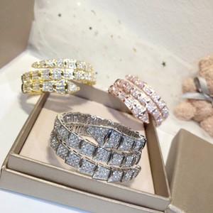 Luxo marca de moda Jóias Lady latão cheio de diamantes Duplo círculos Cobra Serpenti 18K do casamento do ouro Engagement Abrir Pulseiras 3 cores