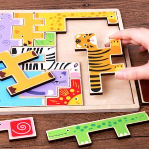 Yaratıcı Renkli 3D Karikatür Ahşap Hayvanlar Bulmacalar Jigsaw Oyuncak Çocuk İstihbarat Geliştirme Bebek Eğitici Oyuncaklar