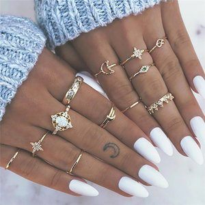 Vintage Leaf Flower Crystal Opal Knuckle Ring Sets para mujeres Nuevo 2019 Boho Gold Heart Midi Anillos Anillos Mujer Valentine Gift