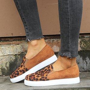 Frauen-Einzel Shoes35-43 Yards Europäische Leopard Farbe Round Head Frauen-flache Ferse Einzelne Schuhe Suede Trendy Damenschuhe