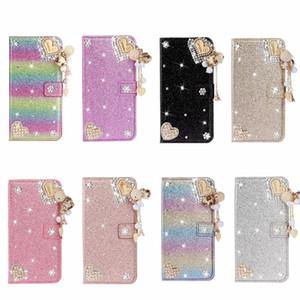 Kalp Love Deri Cüzdan Kılıf için Iphone 11 2019 XR XS MAX X 8 7 6 Bling Diamond Flower Glitter Lüks Sparkle Tutucu Kimlik Kartı Gökkuşağı Kapak