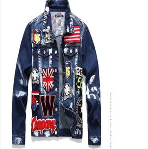 Jaqueta jeans Mens Hip Graffiti Sólidos Casual Slim Fit Bomber Jacket Outono Inverno Jean Jaquetas Homens de Homens Para Hop Jackets vaqueiro