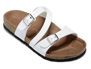 hotsell hombre del diseñador zapatos con caja de Orignal para hombre de la mujer sandalias planas clásicas ocasionales de la hebilla de la playa del verano zapatillas zapatillas de cuero genuino