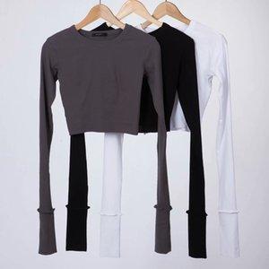 INS kırmızı adam yığını kol tabanı çift manşet süper uzun T- Shirt gömlek kol pamuk yuvarlak yaka kısa tişört
