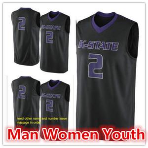 подгоняет NCAA # 2 штата Канзас Рискованного баскетбола Джерси мужчину женщина молодежь колледж Джерси вышивка любого размера номер названия S-5XL