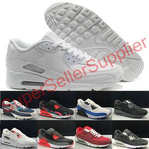 Nike air max 90 shoes airmax 90 de 90 hombres y una mujer Zapatos Negro Rojo Blanco Trainer suave del amortiguador de superficie transpirable zapatos casuales 36-45