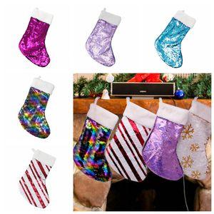 Regalos de Navidad con lentejuelas 5styles reversible media navidad colgante Cuelgue Accesorios Candy Bag Bolsa de fiesta Decoración apoyos FFA3005 juguete