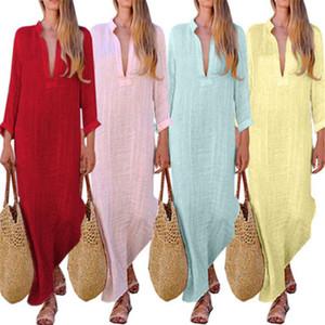 Femmes sexy vintage Robes thnic Fashion Style Boho Robes en coton lin à manches longues Maxi robe fendus col en V Robes