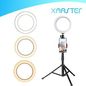 Luz del anillo LED con estirable soporte del trípode selfie palillo de 6 pulgadas 8 pulgadas 10 pulgadas regulable Floor Tabla anular de la lámpara para selfie xmaster maquillaje