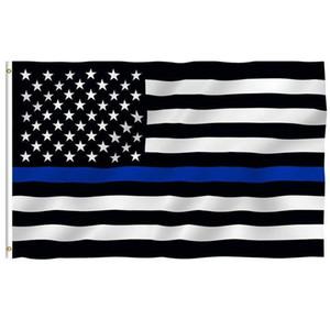 90 * 150 cm BlueLine EUA Polícia Bandeiras 3x5 Pé Fina Linha Azul EUA Bandeira Preto, Branco E Azul Da Bandeira Americana Com Bronze Ilhós 300 Pcs