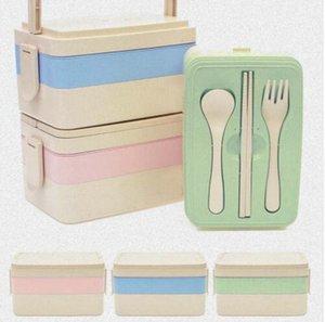 Wheat Straw Lunchbox Japanese Wheat Cutlery Lunchbox Rice Husk Dinnerware Student Portable Lunchbox
