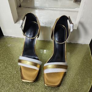 EuropClassic Yüksek altın letteer Seksi sandalet Kaba harfler topuk deri luxuryr Süet kadın ayakkabı Metal tokası sandalet topuklu size34-41