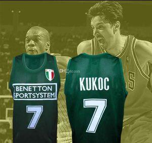 Toni Kukoc # 7 Team Italiano Italia europea Retro Basketball Jersey Mens cucito su misura Qualsiasi Numero Nome maglie