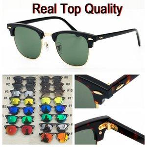 Mens gafas de sol populares de moda las gafas de lentes de cristal del club eyeware vidrio de sol protección UV material de vidrio con funda de piel de alta calidad