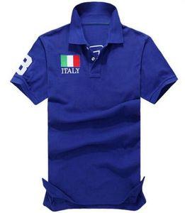 2020 estate nuovi Mens Classic T-shirt Italia Francia IT Flag alta qualità del cotone casual Polo Moda T Shirt Top Navy Blue