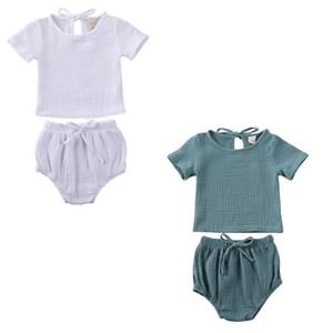 pudcoco Hot Summer Infant Enfants Plain Clothes mis bébé fille CottonLinen Tops T-shirt + courtes Pantalons simple élastique 2PCS
