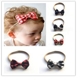 Criança Bow Headband Headwear menina Double Layer Malha pano xadrez Dot Multicolor Nylon Duplo Bow Red Preto Malha 28