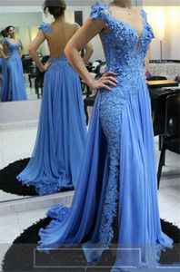 New Elegant Blue Mermaid Evening Dresses for Women Illusion Neck Lace 3D Appliques Beaded Chiffon Plus Size Formal Prom Dress Party Gowns