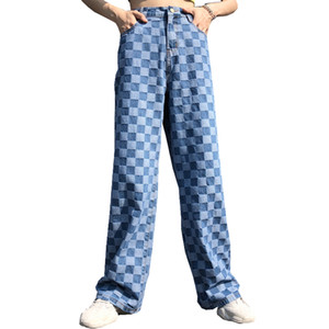 New Cotton Jeans Women 2019 Ins Harajuku Checkerboard Plaid Jeans Loose Plaid Trousers Vintage Color Matching Female Pants
