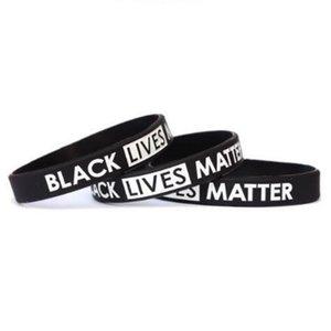 BLACK Bracelet en silicone MATTER VIES Wristband JE RESPIRER Protestation américaine Bracelet en caoutchouc Bangles Hommes Femmes Party Bijoux Faveur