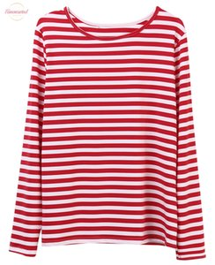 Casual Red White Striped Tshirt Women Long Sleeve V Neck Cotton Loose Tee T Shirt Female Basic O Neck Tops Tees T