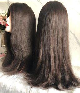Las mejores pelucas judías Sheitels 4x4 de seda superior Color marrón # 2 y # 6 Las mejores pelucas kosher de cabello humano virgen mongol Pelucas sin tapa Envío gratis