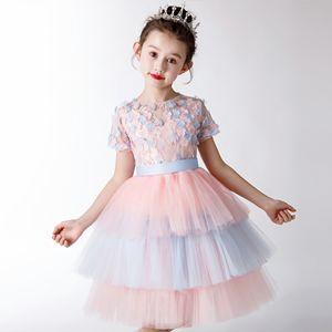 Elegant Tulle Flower Girl Dress Party Kids Pageant Gown Princess Wedding Dress Short Sleeve First Communion Dresses 1-14T
