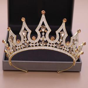 Kadınlar Gelin Kraliçe Çelenkler Taç Gelin Aksesuarlar için Şampanya Altın Taçlar Lüks Pearl Rhinestone kısımda diadem Düğün Saç Takı