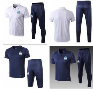2018-19 nova manga curta de Marselha 3/4 calças de treino de futebol 18 19 kits de treinamento de futebol dos homens de treinamento esportivo terno adulto