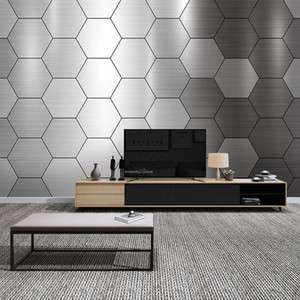 Custom Photo Mural Wall Covering Modern Metal Style 3D Geometric Creative Living Room Sofa TV Background Wall Paper Silver Grey
