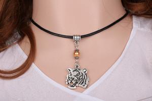White Tiger Head Necklace Pendant Glass Bead Charm Vintage argento choker collare collane dichiarazione di cuoio caldo per le donne gioielli regalo fine