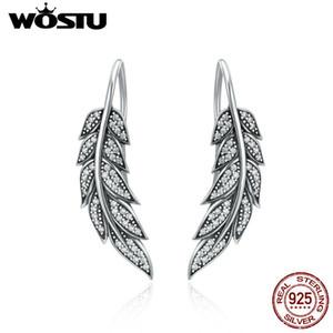 Wostu Echt 100% 925 Vintage Federflügel Lange Ohrringe Für Frauen Sterling Silber Schmuck Brincos Cqe215 J190628