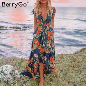 BerryGo Sexy mulheres vestidos assimétricos vestidos longos floral impressão plus size v neckdress Verão vestidos elegantes de férias 2020