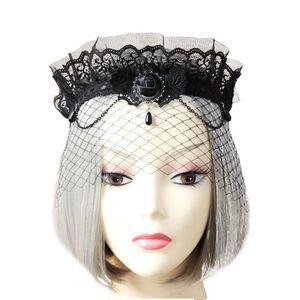 Lace Wedding Veil Crown Retro Grenadine Headband Veil Hair Accessories for Bride Marriage Wedding Accessories