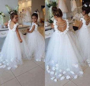2018 flor blanca vestidos para las bodas Scoop Ruffles encaje tul perlas sin respaldo princesa niños boda cumpleaños fiesta vestidos