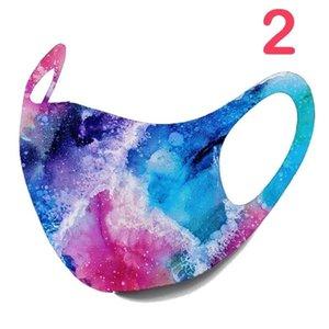 10colors estrellada Imprimir máscara máscaras del polvo anti cubierta lavable PM2.5 hielo del algodón de seda del cielo estrellado de Camo de la llama de la máscara del oído que cuelga 500pcs GGA3523