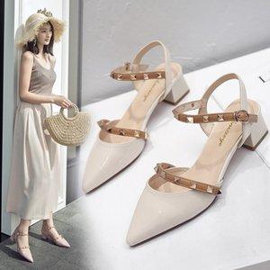 Solos zapatos de otoño 2019 de espesor con cerrojo del remache Mágicas puntiagudo color medio Talón de las mujeres
