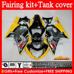 Body +Tank For SUZUKI GSXR-600 K1 GSX-R750 GSXR600 01 02 03 65HC.13 GSXR 600 750 CC GSX R750 GSXR750 2001 2002 2003 yellow grey Fairing kit
