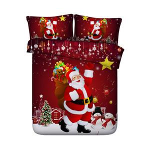 Galaxy coverlet Santa Claus Housse de couette Christmas Tree Snow 3-Piece Bedding Bedding Quilts Housse De Couverture