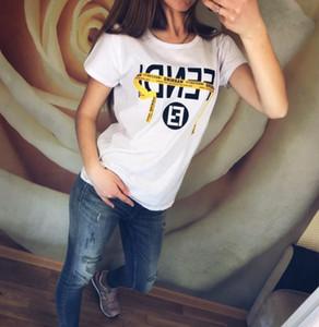 Для женщин Дизайнер леди Printed письмо с коротким рукавом Футболка Тис лето Женщины одежда Рубашки повседневные топы