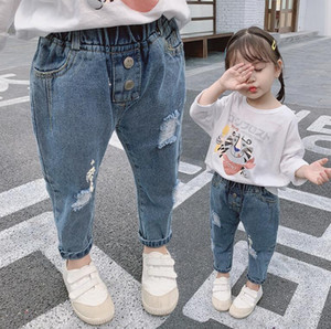2020 best selling girl's Korean jeans autumn new style middle and small children's fashionable broken hole jeans pants nubao versatile size