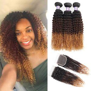 Ombre Pacotes de cabelo humano com fecho Cabelo Kinky Curly 1b / 30/04 Weave Human Remy extensões Pacotes 3Bundles 3Tone Non Cabelo brasileiro