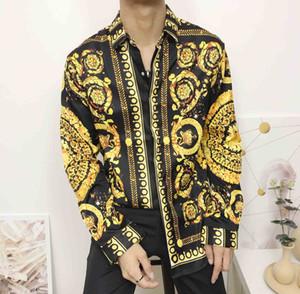 Mode Herrenhemden Herren Business Designer Hemden Freizeithemd Herren Langarm Luxus Medusa Fancy Slim Fit Hemden